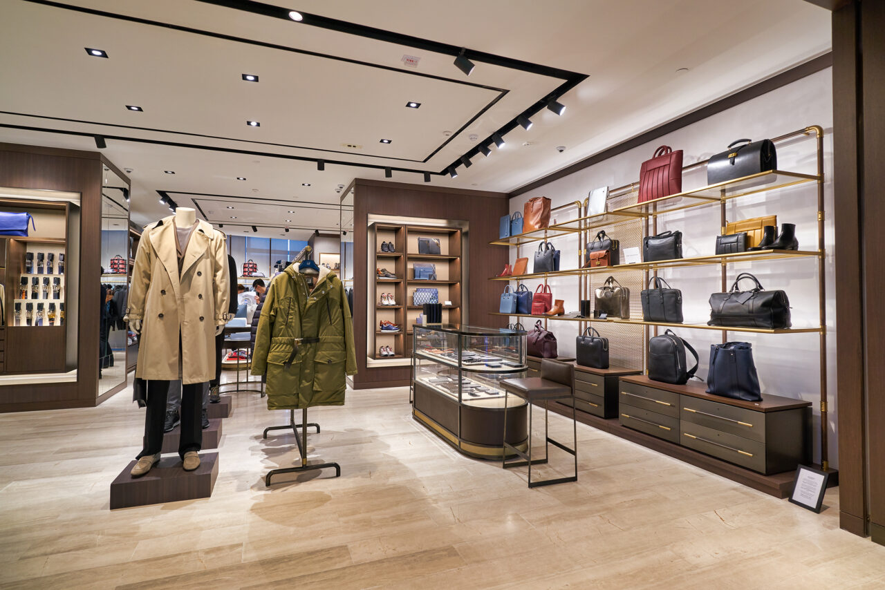 HONG KONG, CHINA - JANUARY 22, 2019: interior shot a Dunhill store in Hong Kong. Alfred Dunhill Limited is a British luxury goods brand, specialising in menswear, leather goods, and accessories.